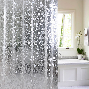 3D Waterproof PVC Shower Curtains Bathroom Curtains With Hooks Transparent White Clear Bathroom Curtain Luxury Bath Curtains