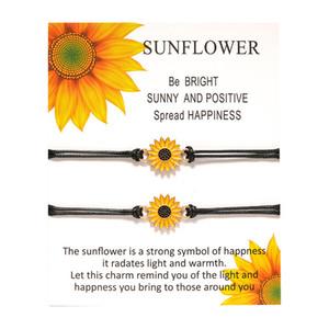 Fashion Adjustable Black String Sunflower Bracelets Wish Rope Bracelet Love Friendship Bracelets For Women Girl Gifts