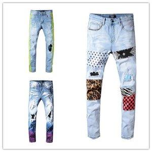 19SS Designer Mens Jeans Distressed Ripped Biker Jeans Slim Fit Motorcycle Biker Luxury Denim Jeans New Brand Fashion Designer Pants