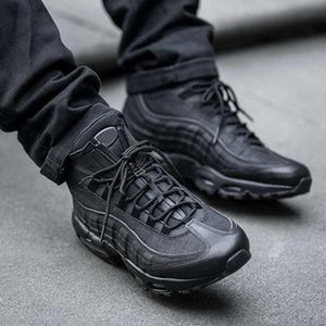 Fashion hiking boots 95 black men's mat new ankle boots high top 95 years waterproof work boots high board men's shoes special sale