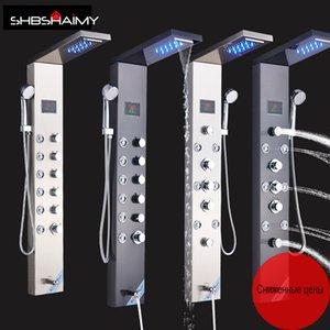 Painel do chuveiro Promoção Russia With LED de alta qualidade set chuveiro Família toda Curtiu Banheiro torneira do chuveiro Europeia frete grátis