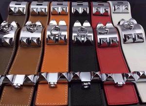 vendita calda bracciale in acciaio 316L Titanum con vera pelle per le donne e gli uomini braccialetto regali gioielli PS5375