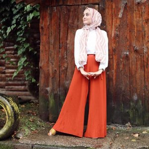Wepbel Plissee Hose mit weiter Beine Frauen Hosen arabisches Mädchen muslimischer Mode mit hohen Taille Hosen-Sommer-islamische Kleidung