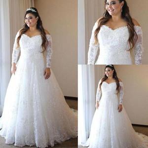 Brautkleider weg Schulter Bloße lange Ärmel 2020 Neueste Brautkleider A-Linie Illusion Zurück Sweep Zug African Brautkleid