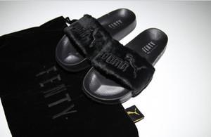 Neue Ankunft Fenty Rihanna Schuhe Frauen Hausschuhe Marke Sandalen Mädchen Rosa Schwarz Weiß Grau Pelz Slides Hohe Qualität Designer Sandalen