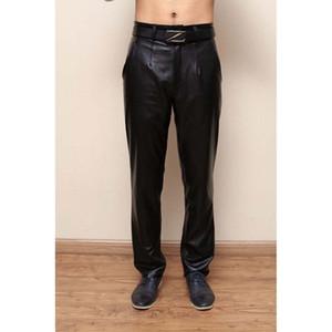 Hommes genunine Pantalon en cuir Homme Hiver chaud Casual droite en vrac Pantalons coupe-vent Vêtements Homme Custom Made