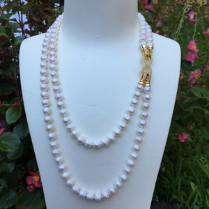 Hand knotted 2strands 7-8mm white freshwater collar pearl necklace long 45-55cm fashion jewelry