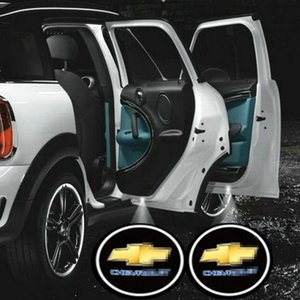 2pcs Universal Wireless Car Projection Projecteur LED Porte Ombre lumière Bienvenue Laser Light Emblem Logo Lampes Cree Kit pour Chevy Chevrolet
