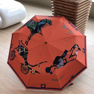 Роскошная Лошадь печать Дождливого Зонт Vintage Style Защита от ультрафиолетовых лучей Зонтик портативной Полностью автоматическая складная Зонтики с коробкой