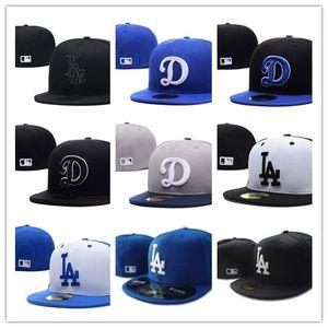 Top Quality Mens Equipados Chapéus LA chapéus de basebol plana Brim da equipe bordado fãs logotipo cap totalmente fechada