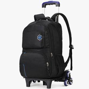 Sac d'école de collège étudiant 2/6 roue voyage bagages décontracté cartable enfants détachable sac à dos étanche sacs