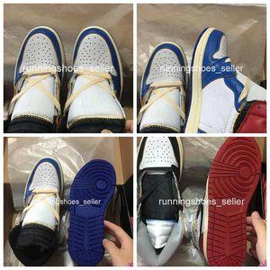 2019 jordans neue Union x Air 1s hohe OG NRG Herren Basketball Schuhe Top Qualität Storm Blue Wolf Grau Schwarz Retro Designer Sport Turnschuhe Größe 40-46