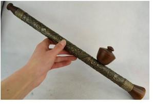 sculpture Cuivre Laiton Rare ancien fait à la main en bronze décoration de fleur fumer attirail