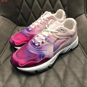 new Rose pink and blue leather and knitted fabric graffiti design decorative fashion Trend all-match high-end Super light rubber sole