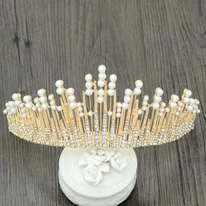 New Vintage Perles cristal multicolore Tiara Couronne de mariage Accessoires cheveux bijoux de mariée Head Band LXH