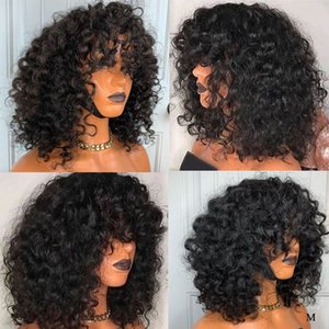Breve Blunt Cut Water Wave Bob 360 Frontal del merletto parrucche con la frangetta Pixie Pre pizzico capelli umani Remy Chiusura parrucche per le donne nere