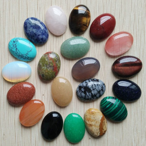 Free shipping 20pcs lot Wholesale 18x25mm 2020 hot sell natural stone mixed Oval CAB CABOCHON teardrop beads for jewelry making T200323