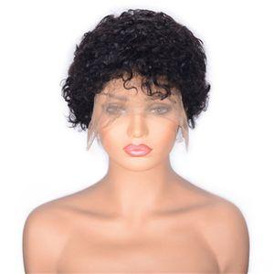 Curly Lace Front Perücken für schwarze Frauen natürliche Farben brasilianische Menschenhaar-Perücken Medium Cap 130% Dichte