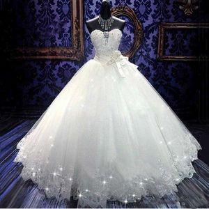 Real Photoes Bling Bling Vestidos De Noiva De Cristal Voltar Bandagem Apliques de Tule Até O Chão vestido de Baile Vestidos De Noiva Vestidos de Noiva