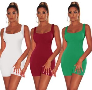 Jumpsuits Solid Slim Fit Playsuits Shorts Sleeveless Backless Beach Rompers Women Candy Color