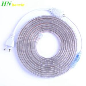 HaoXin SMD 5050 AC220V Tira de luz LED flexible 60leds / m Cinta LED impermeable Luz LED con enchufe de alimentación