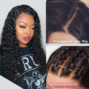 Las pelucas de pelo humano frente de encaje invisible falso cuero cabelludo peluca 13x6 parte profunda Pixie Bob Short Cut rizado Remy PrePlucked 130%