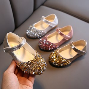 bling bling Baby Girls Shoes Kids Princess Shoes For Cocktail Party Little Girls Wedding Dress Gold Pink Silver 1-7years