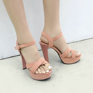 Sianie Tianie 2020 punta aperta solidi tacchi alti sandali tacco piattaforma picco sexy giallo della donna rosa fibbia sandali delle donne cinghia