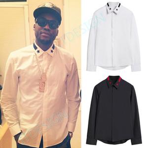 NOUVEAU Mode Produit Design Slim Fit hommes stars rayé broderie manches longues en coton Casual Shirt Noir / Blanc