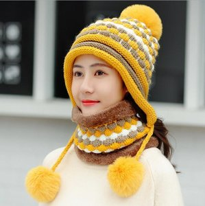 Wool ball hat female winter plus plush earmuffs Korean tide knitted collar hat warm windproof cycling hat