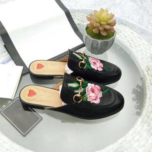 brodent pantoufles en cuir prinetown gros de fleurs usine avec boîte brodée rose sandales balles semelles plates