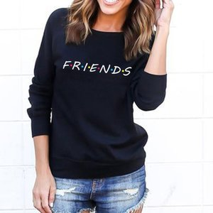 Damen Hoodies Sweatshirts Mode Frauen Freunde Sweatshirt Casual Winter Herbst Warme Brief Druck Pullover Feste Farbe Streetwear Lose