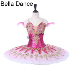 Trajes cor de rosa escuro mulheres Paquita competitons Stage Tutu Para Meninas Profissional Ballet Tutu Clássica Adulto BT9134G