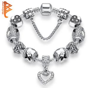 BELAWANG sevgililer Günü Murano Cam Boncuk Yılan Zinciri ile 925 Gümüş Charm Bilezik Bileklik Kadın Bilezikler Düğün Hediyesi