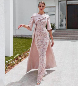 Elegant African Dubai 2020 Evening Dresses with Cape Blush Pink Lace Stain Half Sleeve Formal Party Occasion Prom Dress