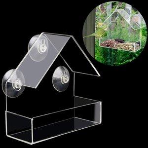نيو-من البلاستيك الشفاف الامتزاز نوع شكل البيت تغذية الطيور مبتكرة اللوازم كأس شفط تغذية الطيور أخرى
