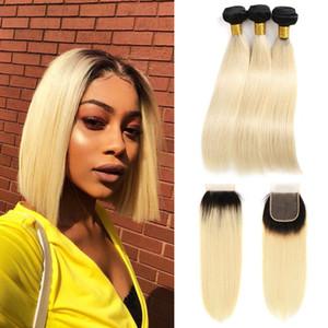 1B / 613 Ombre Blonde Brésilienne Droite Remy Cheveux Humains 3 Bundles avec fermeture de lacet 4x4 Blonde Platinum Blonde Ombre et fermeture