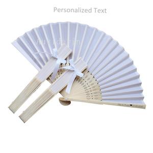Nombres personalizados FECHA BODA Seda Mano Ventilador Doblado Abanico con cinta Bow + Impresión personalizada Logo + DHL Envío gratis