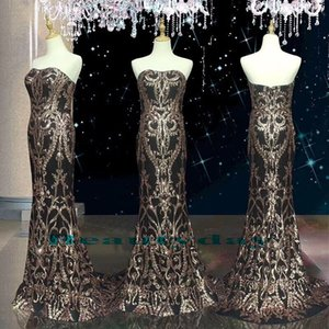 Real Image Sparkling Gold Paillettes Pizzo Abiti da ballo 2019 New Formal Evening Party Occasioni speciali Vestito Dubai 2k19 Black Girl Couple Day