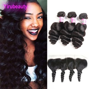 Peruvian Human Hair Bundles With 13X4 Lace Frontal Free Part Loose Wave Natural Color 3 Bundles With 13X4 Lace Frontal Closures Hair Weaves
