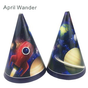 6pcs lot Lovely universe Planet paper hats Space rocket birthday paper hats for astronaut happy birthday party supplies&decor