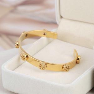 Frete grátis New Hot Venda real banhado a ouro Marca pulseiras Botão Cuff Letter Moda de Nova Para as mulheres para a menina