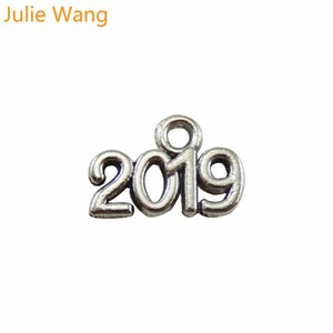 Julie Wang 100PCS Antique Silver 2019 2020 Number Alloy Charms Pendants Jewelry Makings Necklace Earrings Accessory