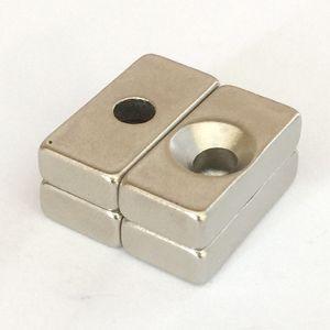 Marca New super forte 20pcs ímã permanente / pacote, 20x10x5mm bloco com buracos rebaixada de um lado, ímã DIY Craft