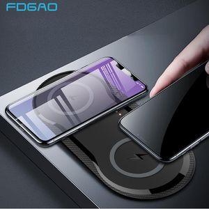 20W double siège chargeur sans fil Pad QI de charge rapide 2 en 1 chargeur de bureau pour iPhone 11 Pro X XS MAX XR pour Samsung S10 S9