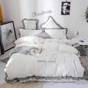 Beyaz Yatak Kraliçe King Size Saf Renk Nakış Nevresim Dantel Bed Etek Seti Yastık Düğün Yatak Örtüsü Takımları