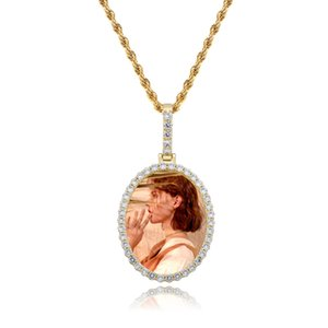 Men Women Designer Necklaces Luxury Bling Zircon DIY Photo Necklace 18K Gold Rhodium Plated Oval Pendant Hip Hop Necklaces