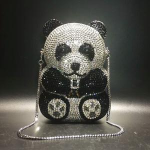 Frauen Panda Form Kristall Abendtasche Perlen Tageskupplungen Lady Wedding Handtasche Strass Handtaschen Abendkleid Clutch Bags