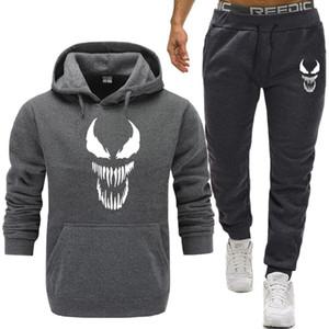 Venom Hoodie Erkekler Tişörtü Spiderman Comic Süper Kahraman Anime Erkekler / Kadınlar Hoodies Tişörtü + Sweatpants Artı Kadife Rahat Hoody