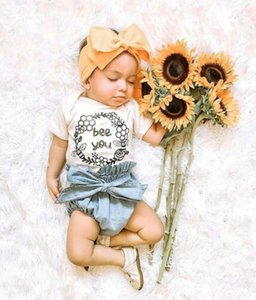 New UK Toddler Baby Girls Flower Outfits Clothes Short Sleeve Tops+Denim Shorts 2Pieces Sets